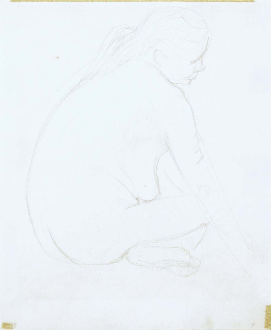 Female Model Seating with Legs Crossed Pencil 11.125 x 9