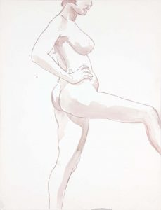 Female Model with Leg Extended Wash 22.875 x 17.375