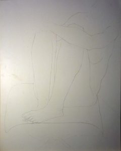 Female Model with Legs Bent Pencil 28.5 x 22.5