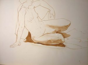 Female Nude Leaning Back Sepia 22 x 19.875