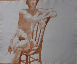 Female Nude Seated in Chair Sepia 19.625 x 23.75