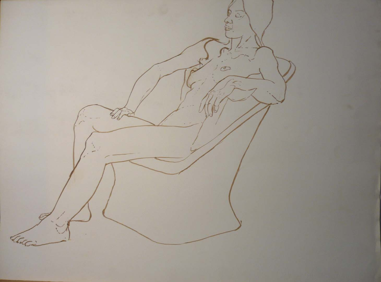 Female Nude in Chair Sepia 22.125 x 29.875