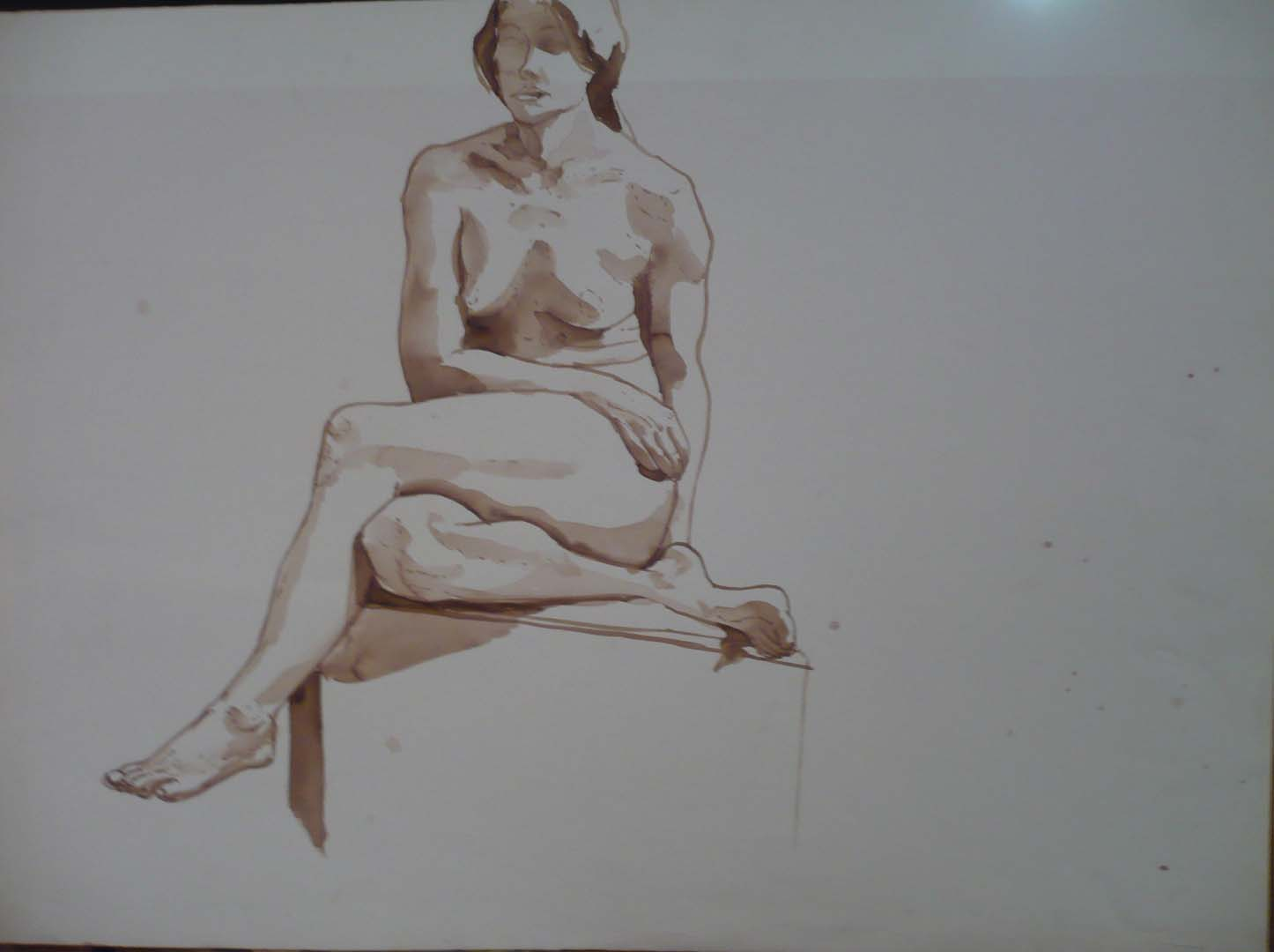 Female Sitting with Legs Crossed Sepia 22 x 30