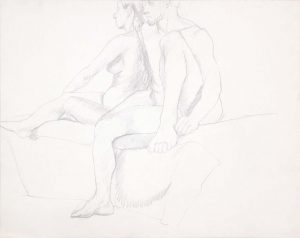 Female and Male Nudes Seated Together Graphite 22.625 x 28.5