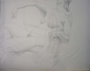 Female with Chair Pencil 23 x 28.875