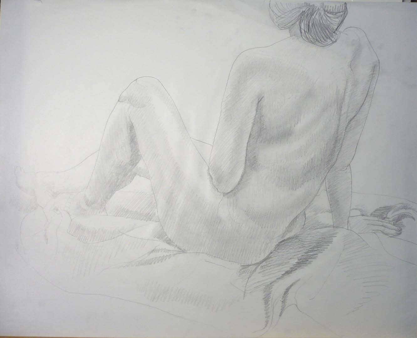 Leaning Female Leg Raised Pencil 23 x 29