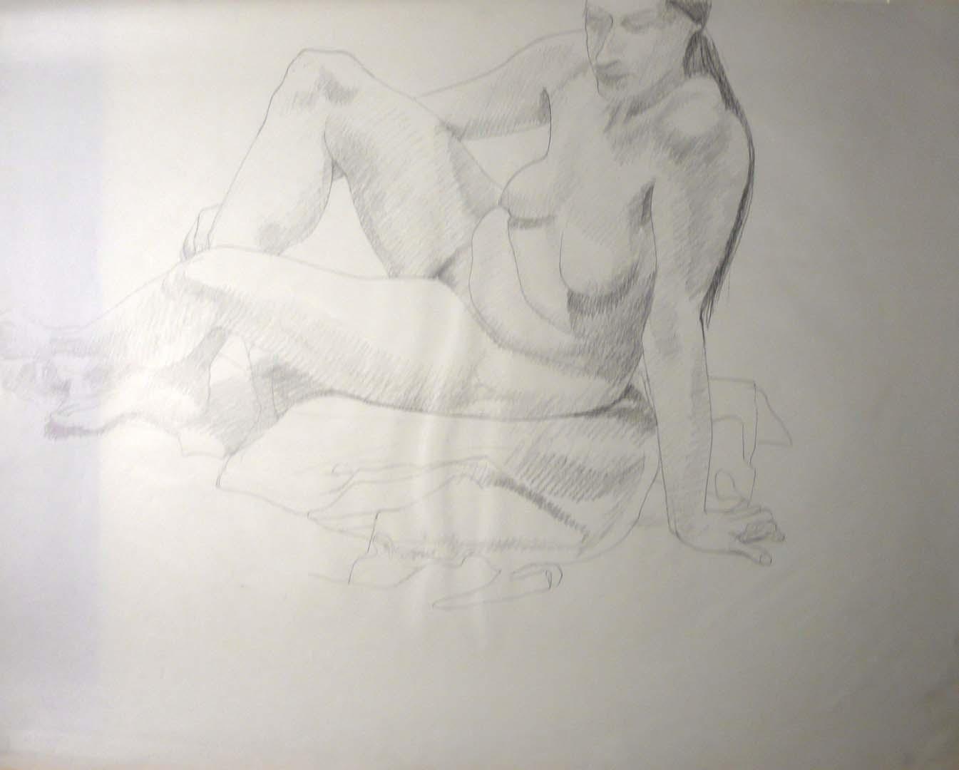 Leaning Female Model Pencil 23 x 29