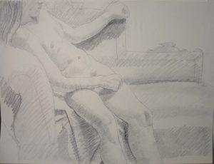 Leaning Female Model Pencil 17.875 x 23.875