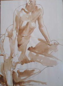 Leaning Female Nude Sepia 29.875 x 22