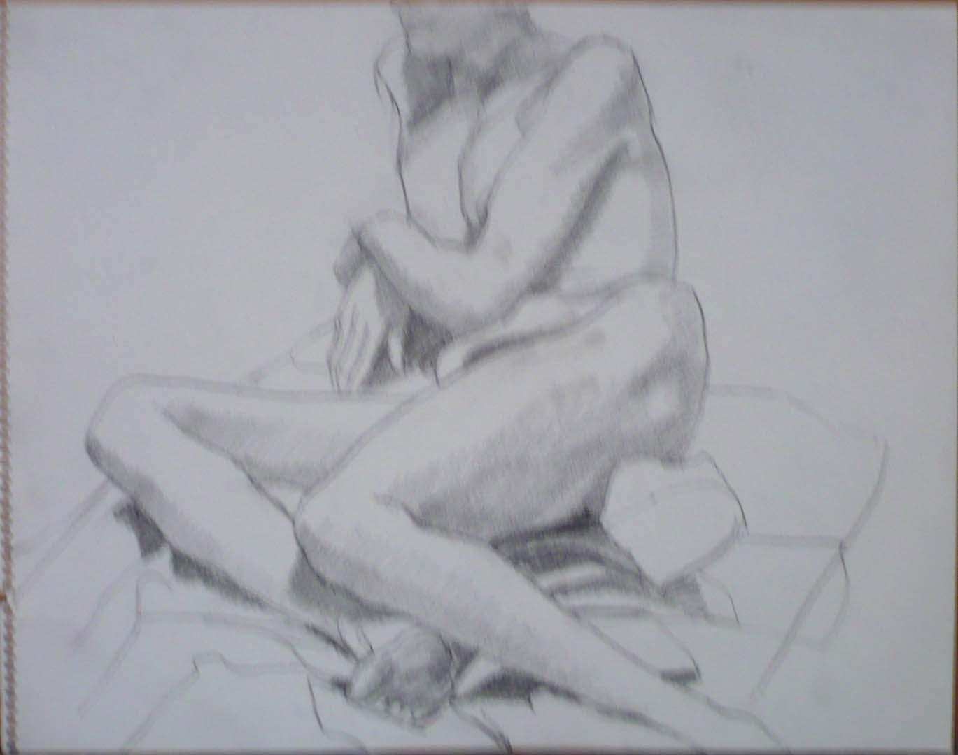 Leaning Female Nude in Studio Pencil 11 x 14