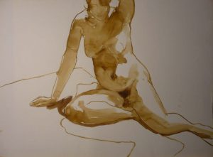 Leaning Female Nude in Studio Sepia 22 x 29.875