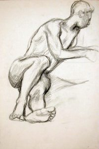 Leaning Male Nude Charcoal 17.875 x 12