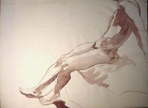 Leaning Male Nude Sepia 22 x 29.875