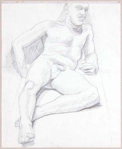 Leaning Male Nude in Studio Graphite 17 x 14