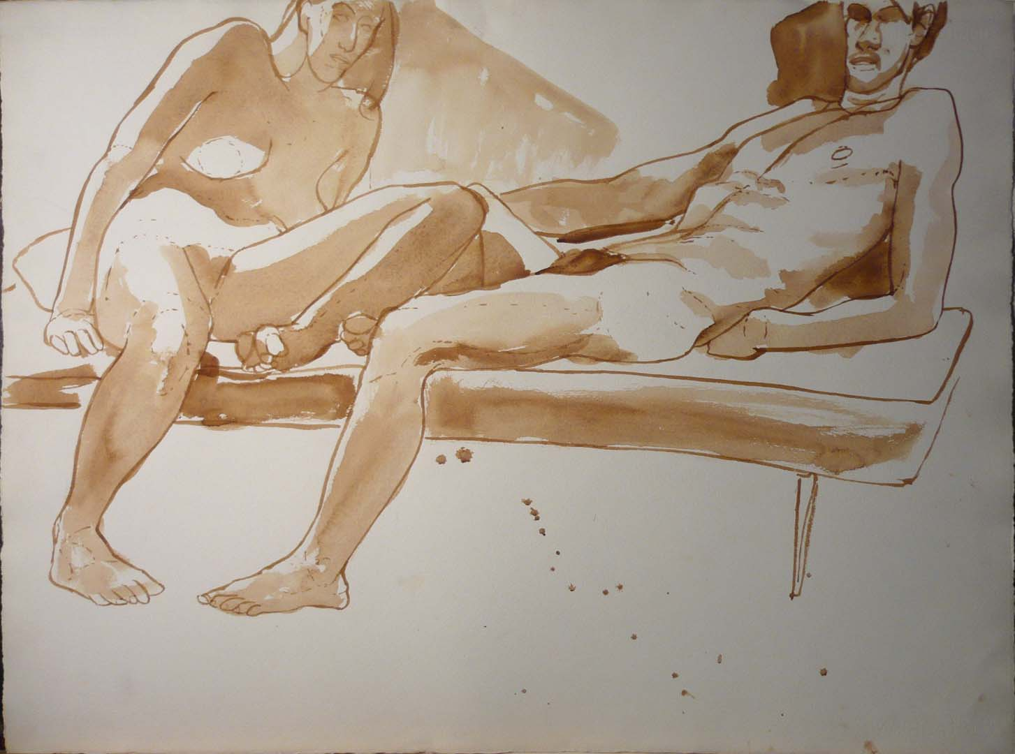 Leaning Male and Female Model in Bench Sepia 22.25 x 30
