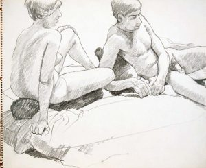 Leaning Male and Female Models Pencil 14 x 17