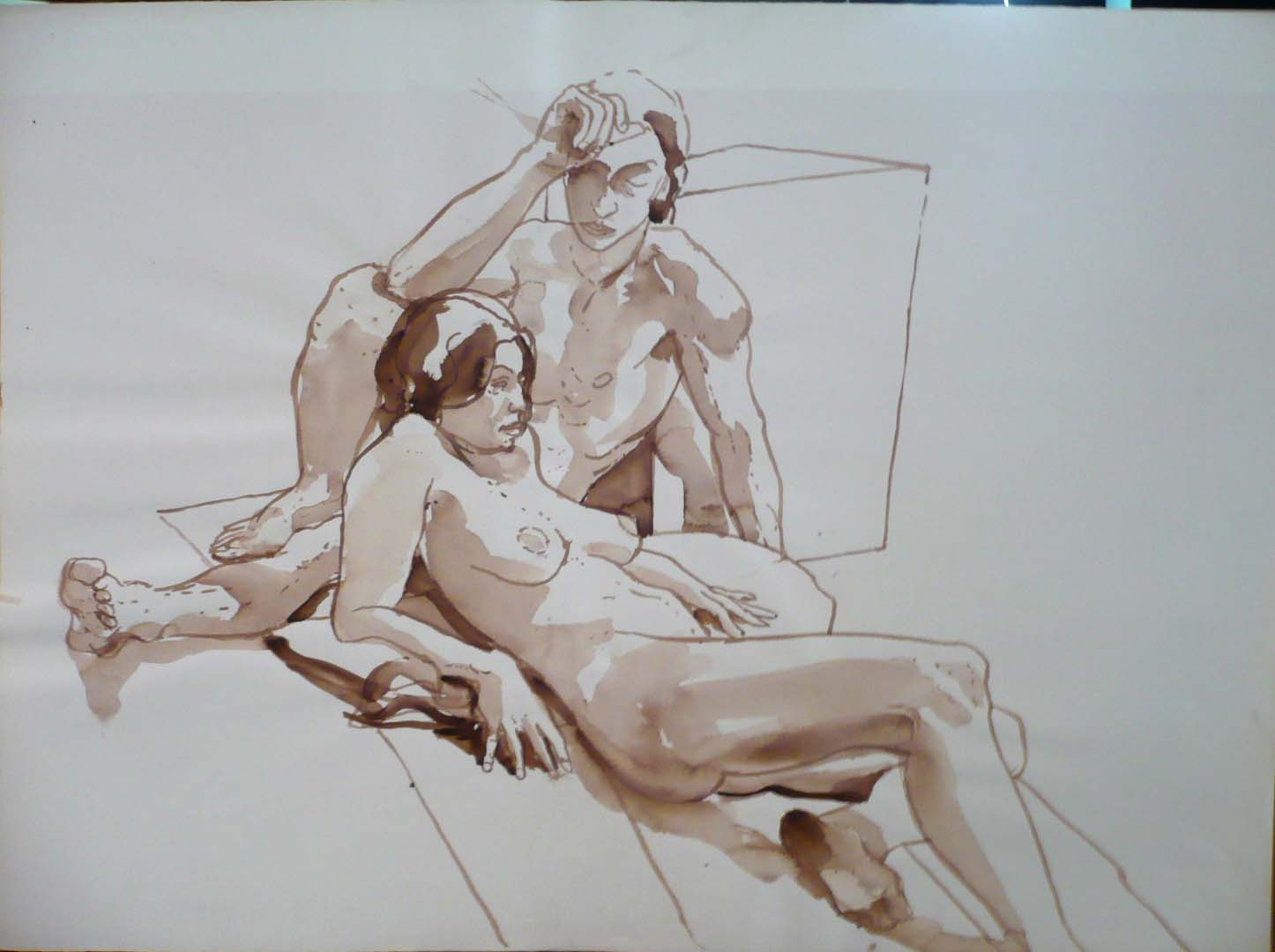 Leaning Male and Female Models Sepia 22.125 x 29.875