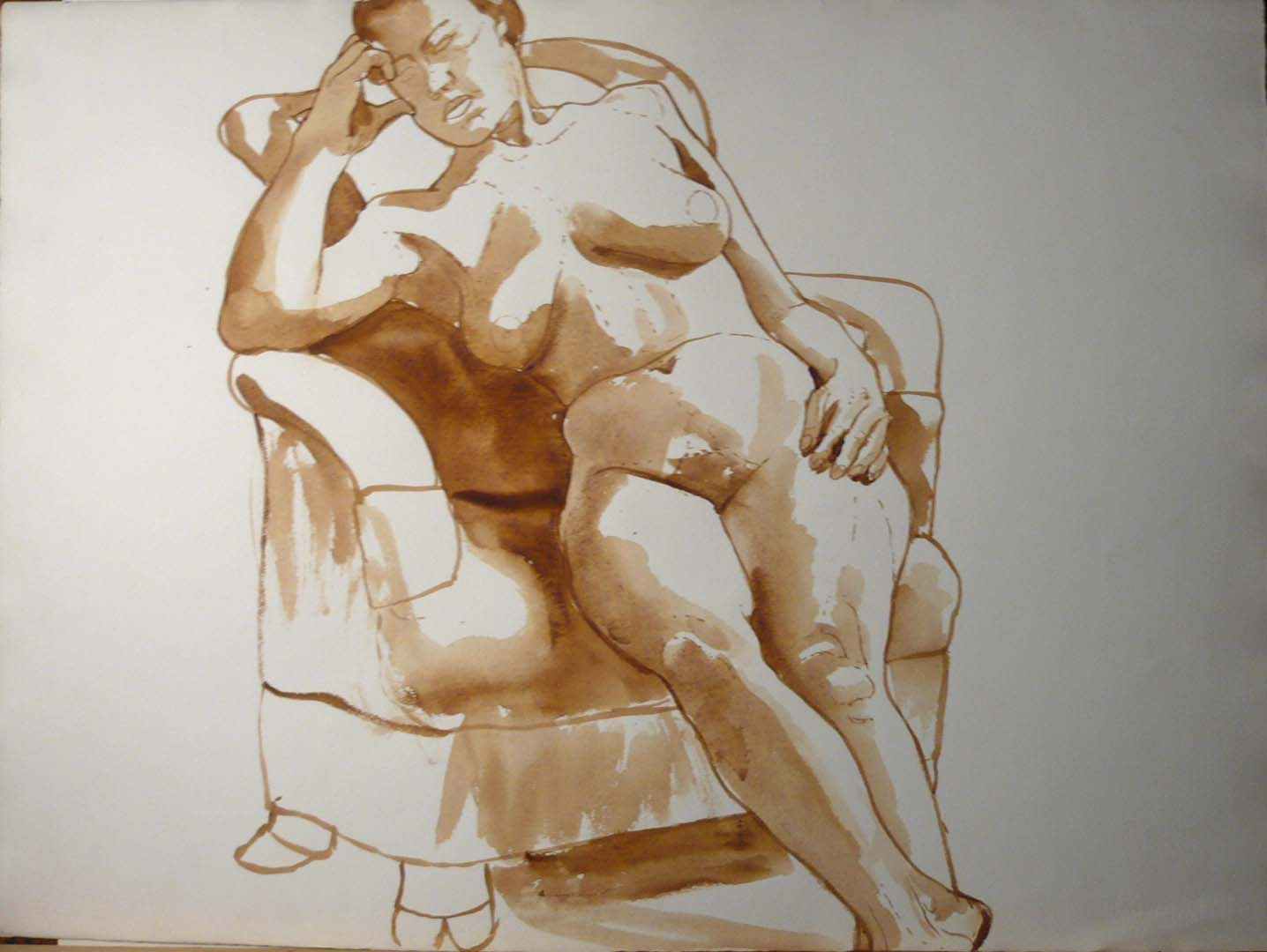 Leaning Woman in Armchair Sepia 22.25 x 30
