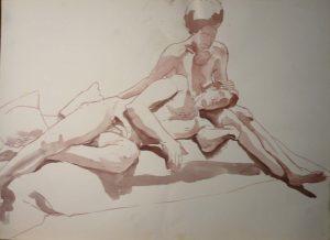Male Leaning on Female Leg Sepia Wash 22 x 29.875