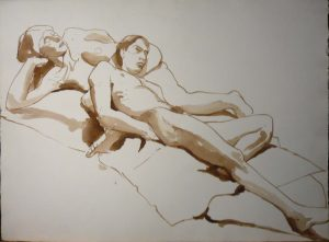 Male Model Leaning on Female Sepia 22.125 x 29.875