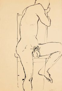Male Model Seated on Chair Ink 17.875 x 12