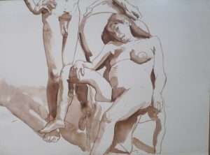 Male Model Standing and Female Model Seated in Chair Sepia 22 x 29.875