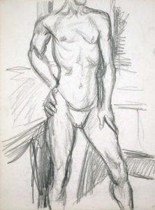 Male Model Standing in Studio Pencil 13.875 x 10.875