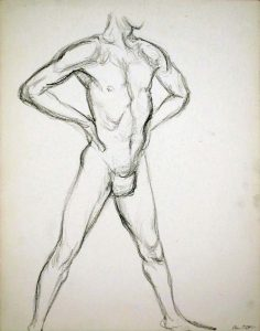 Male Model Standing with Hands on Hips Pencil 13.875 x 10.875