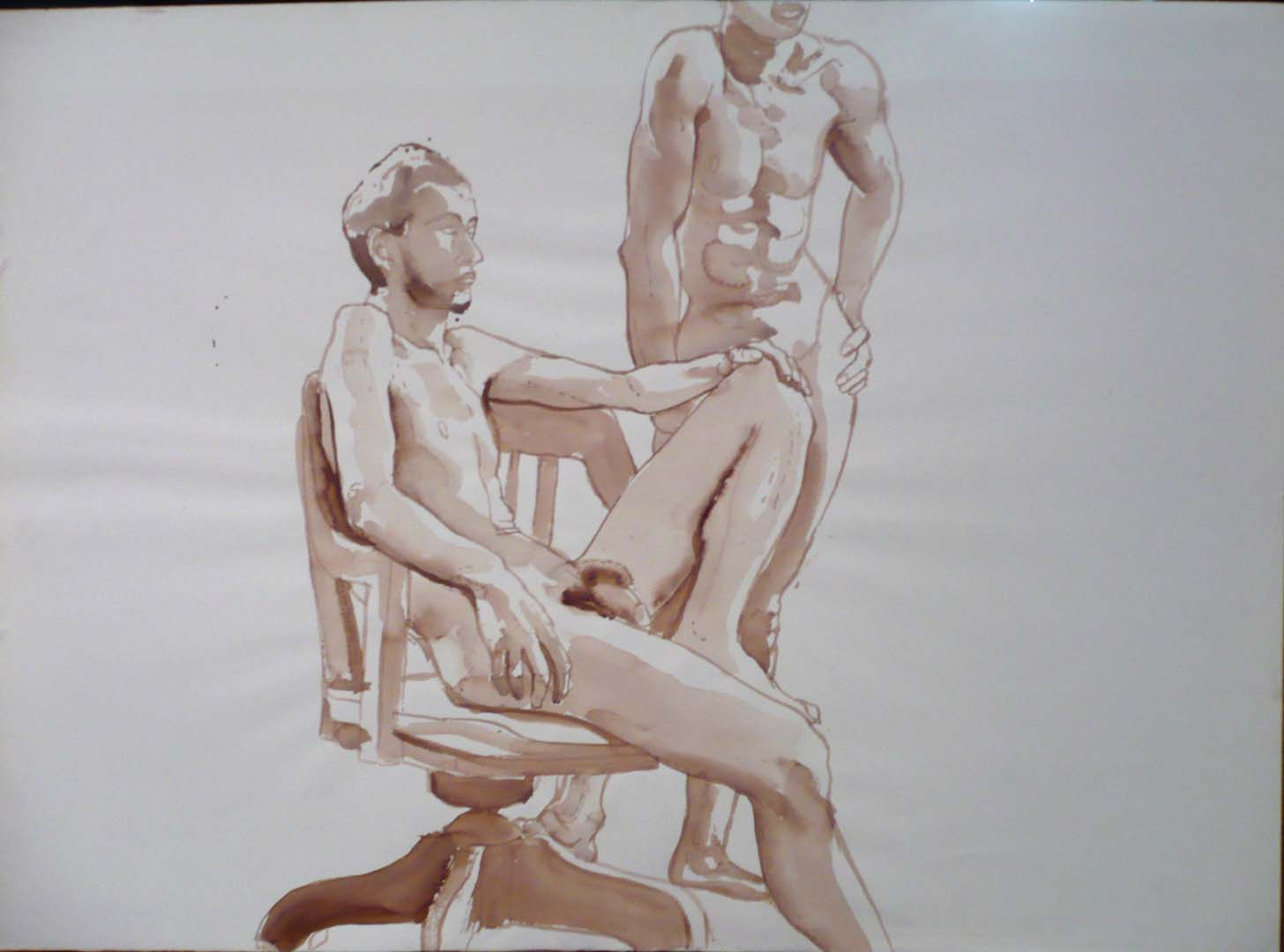 Male Models with Swivel Chair Sepia 22 x 30