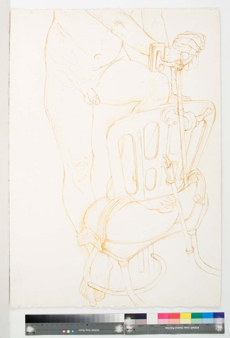 Male Model with Foot on Examination Chair Sepia Wash 41.75 x 29.375
