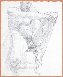 Male Nude on Stool