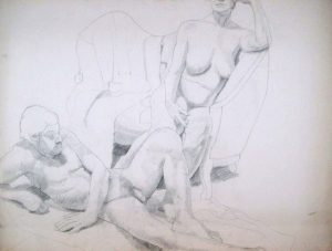 Male and Female Models with Sofa Pencil 30 x 40
