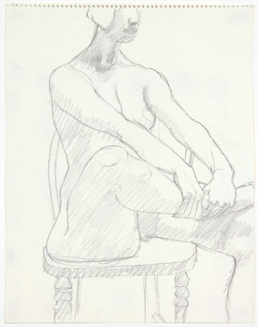 Model Seated on Chair Pencil 14 x 11