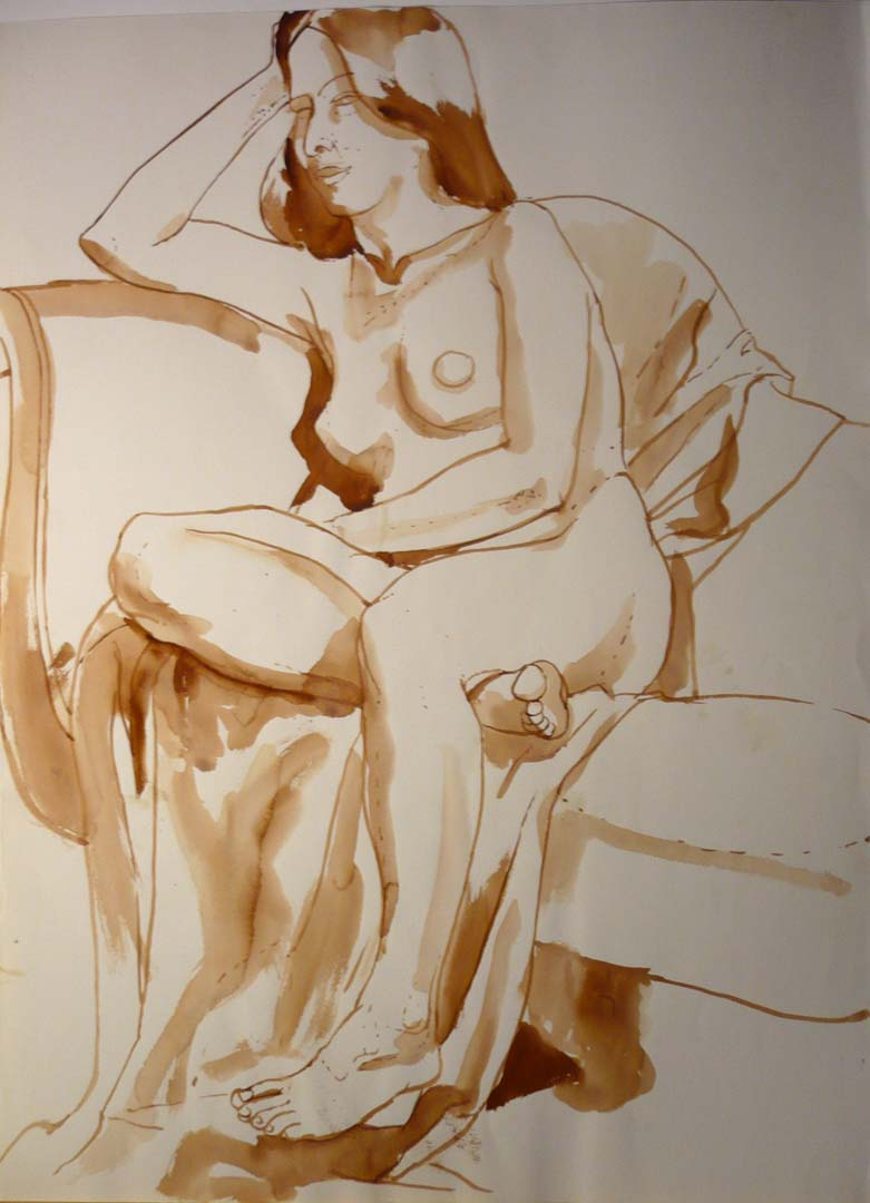 Nude Resting Head on Hand Sepia 30 x 22