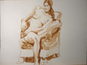 Nude with Bent Leg Seated on Chair Sepia 20.75 x 27.375