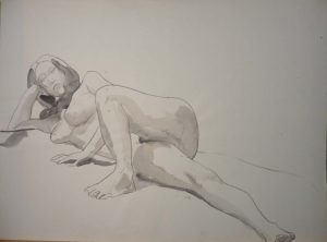 Reclined Female Watercolor 22 x 29.875