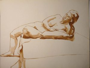 Reclined Female Model with Pillow Sepia 20 x 25.875