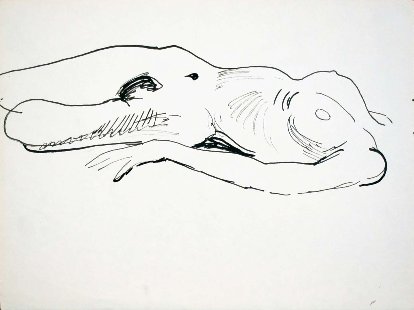 Reclined Female Nude Ink 9 x 12