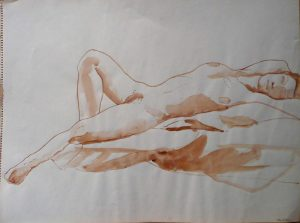Reclined Female Nude Sepia 18 x 24