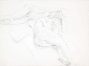 Reclined Female and Male Nudes Graphite 22.125 x 29.875