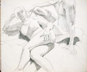 Reclined Female and Seated Male Pencil 14 x 17