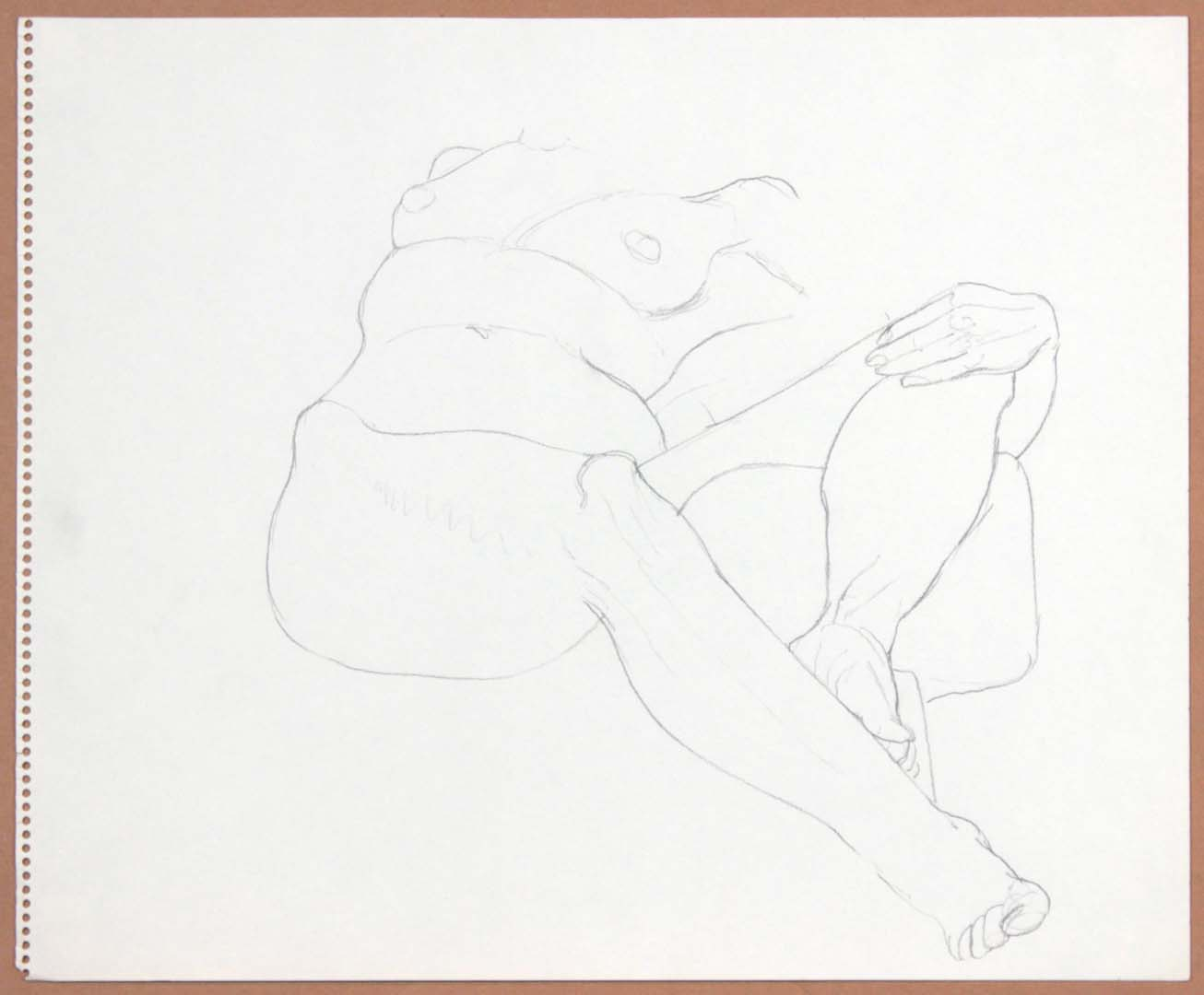 Reclined Female with Leg Raised Pencil 14 x 17