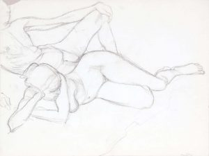 Reclined Male and Female Modes Graphite 14.875 x 20
