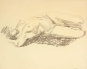 Reclined Model with Arm Over Head Graphite 19 x 24