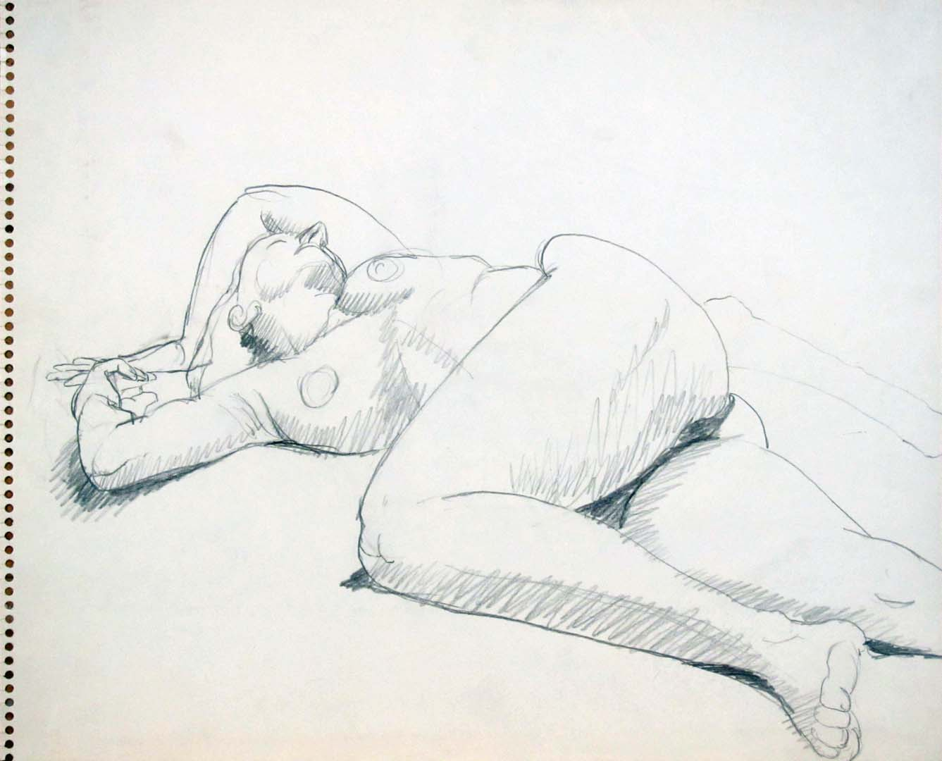Reclined Nude with Arms Over Head Pencil 13.75 x 17