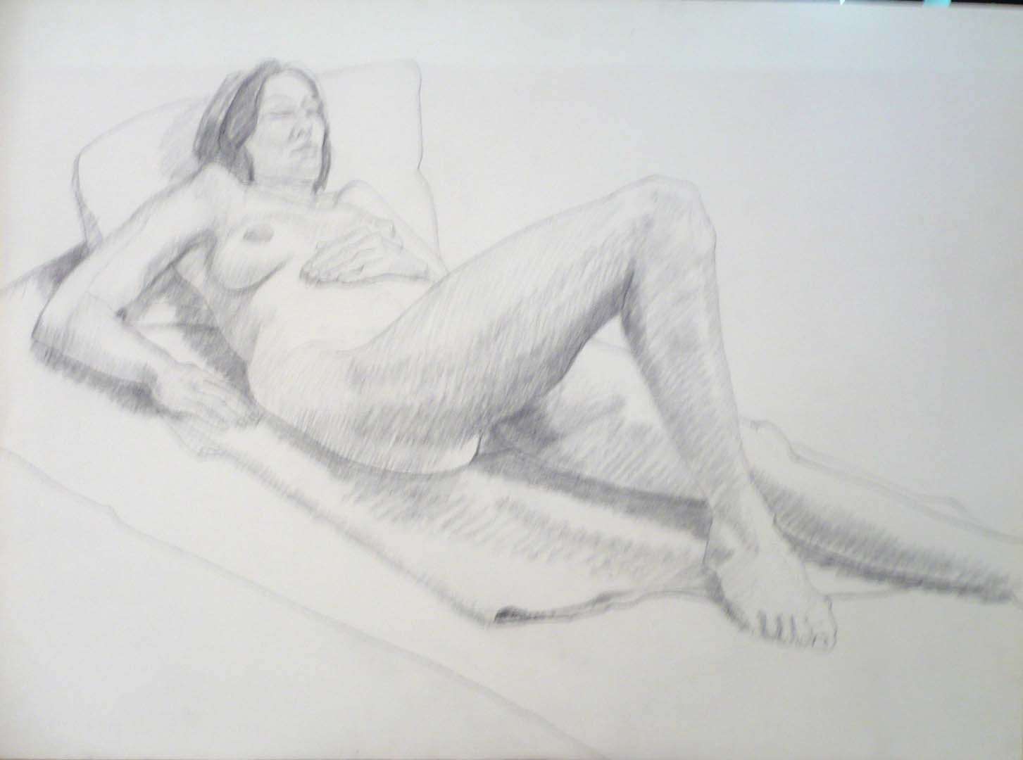 Reclining Female Model Graphite 22.125 x 30
