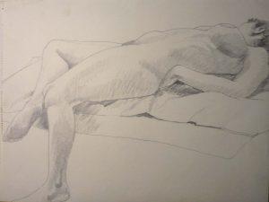 Reclining Female Nude Pencil 18 x 44