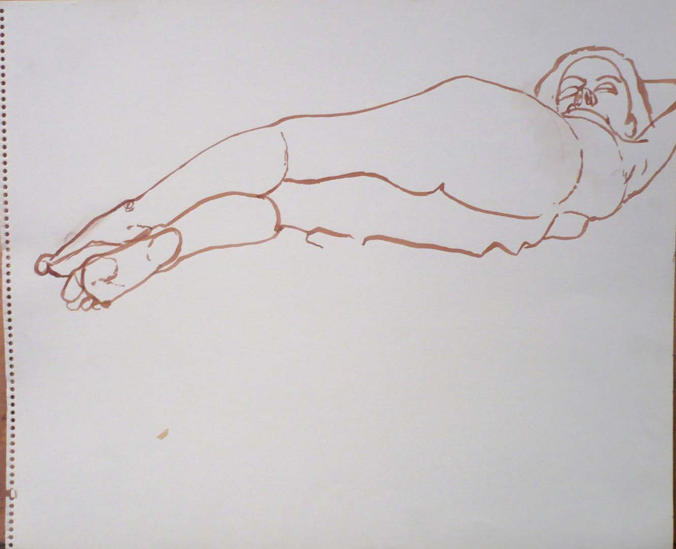Reclining Female Nude Sepia 14 x 17