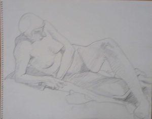 Reclining Female Nude Pencil 11 x 14