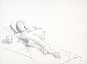 Reclining Female with Leg Bent Wash 22 x 29.875